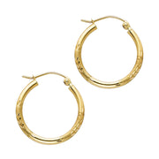 14K Gold 2mm Diamond Cut Hoops