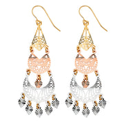 14K Gold Filigree Chandelier Earrings