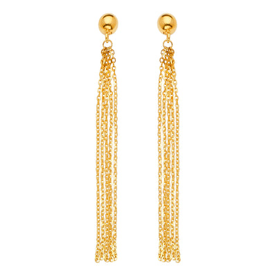 14K Gold Multi Chain Tassle Dangle Earrings