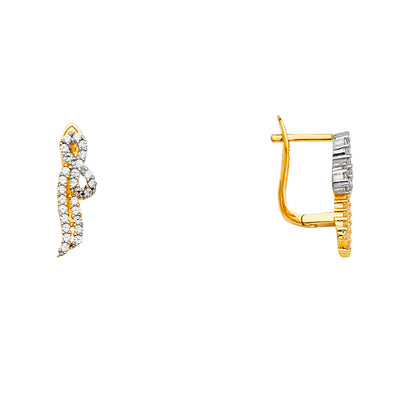 14K Gold CZ Stone Earrings