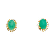 14K Gold CZ Stone Green Jade Earrings