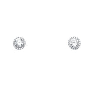 14K Gold Round Solitaire CZ Stone Earrings