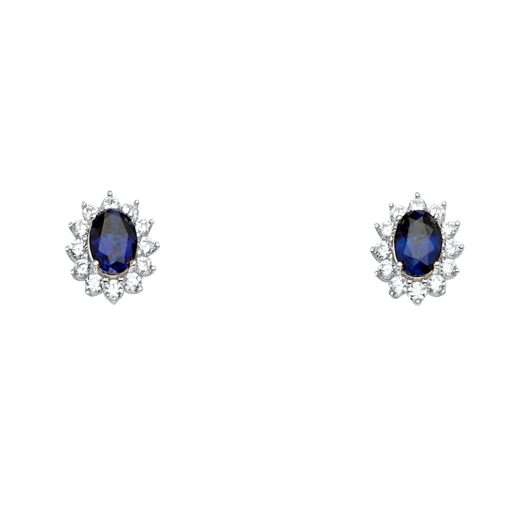 14K Gold Oval Blue CZ Stone Earrings
