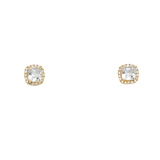 14K Gold Square Solitaire CZ Stone Earrings