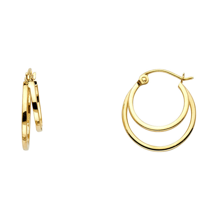 14K Gold 4mm Double Hoops