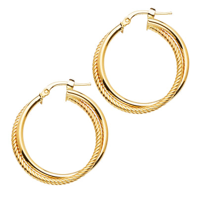 14K Gold 2 Line Wired Round Hoops
