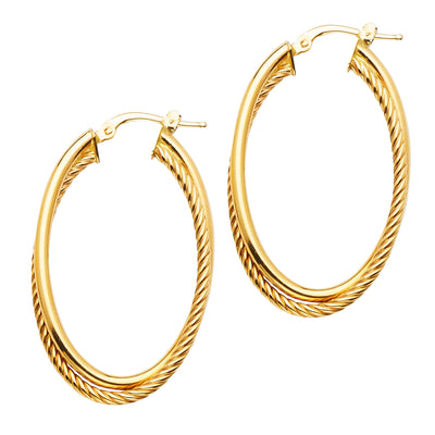 14K Gold 2 Line Wired Oval Hoops