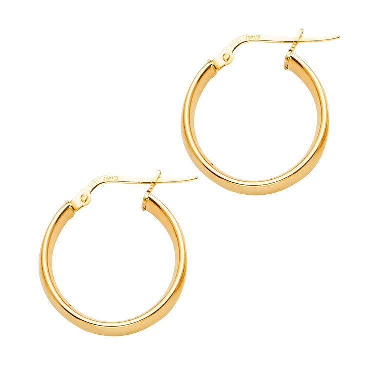 14K Gold Round Hollow Hoops