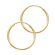 14K Gold 1mm Hoops