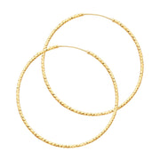 14K Gold 1mm Diamond Cut Hoops