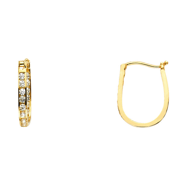 14K Gold 2mm CZ Stone Semi-Eternity Hoops