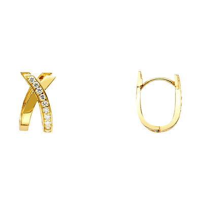 14K Gold 8mm CZ Stone Crossover Huggie Hoops