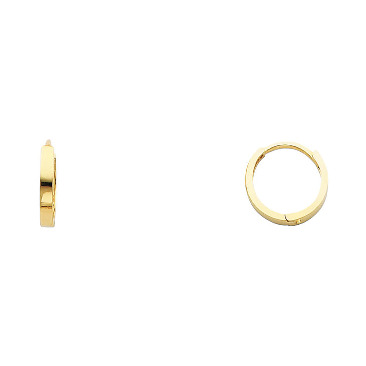 14K Gold 2mm Square Tube Huggie Hoops