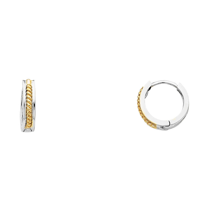 14K Gold 2.5mm Square Huggie Hoops with Twisted Rope