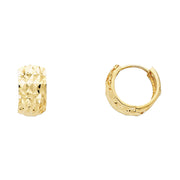 14K Gold 7mm Faceted Huggie Hoops