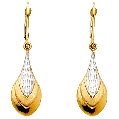 14K Gold Teardrop Hanging Earrings