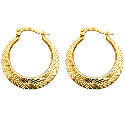 14K Gold 2.5mm Crescent Crisscross Diamond Cut Smooth Hoops