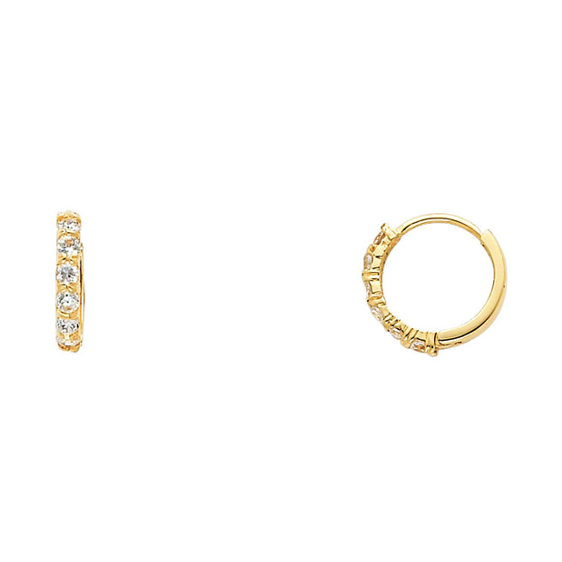 14K Gold 2mm CZ Stone Huggie Hoops