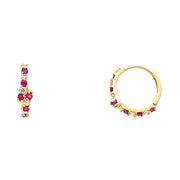 14K Gold 4mm CZ Stone Huggie Hoops