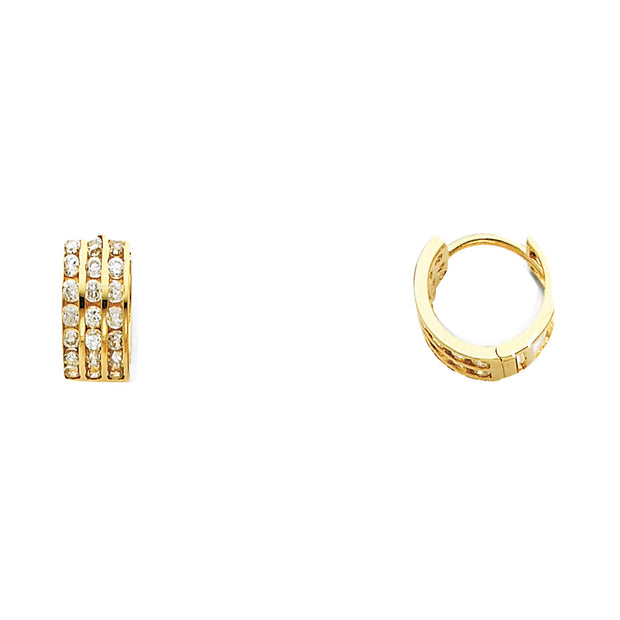 14K Gold 5mm CZ Stone Huggie Hoops