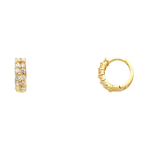 14K Gold 3mm CZ Stone Huggie Hoops