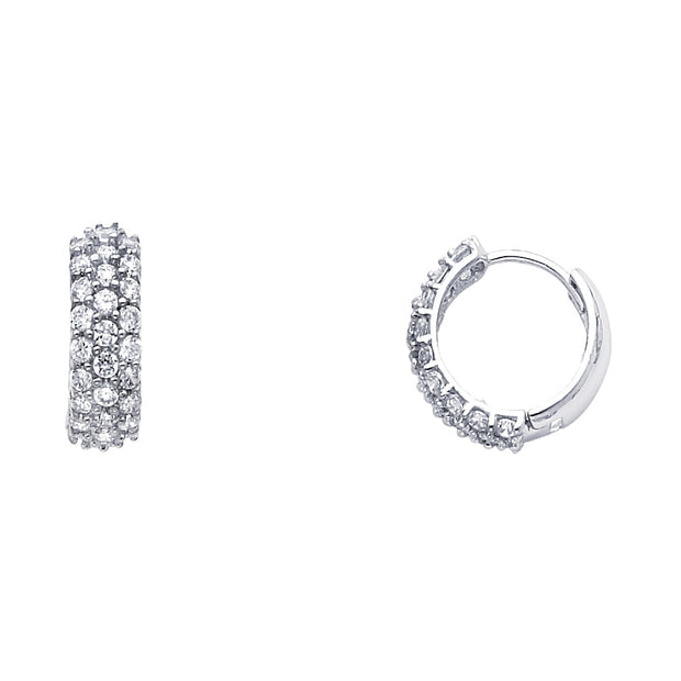 14K Gold 5mm CZ Stone Hoops