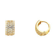 14K Gold 8mm CZ Stone Huggie Hoops