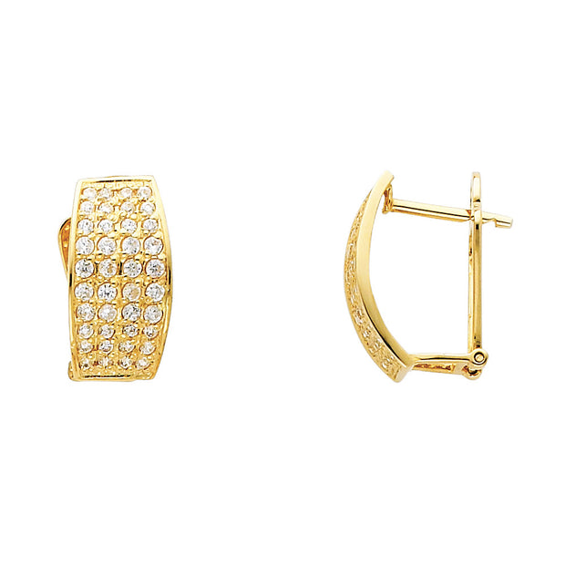 14K Gold 10mm CZ Stone Huggie Hoops