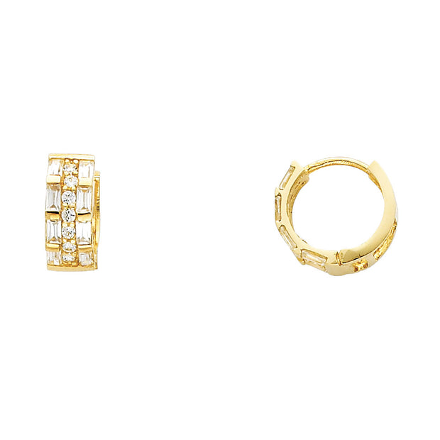 14K Gold 6mm CZ Stone Huggie Hoops