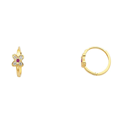 14K Gold Flower CZ Stone Huggie Hoops