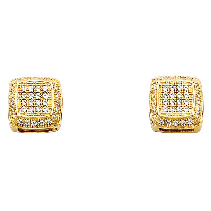 14K Gold 10mm Square CZ Stone Earrings