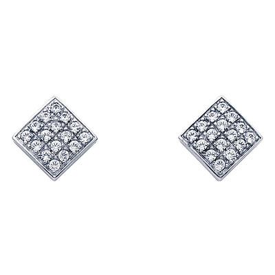 14K Gold Square CZ Stone Earrings