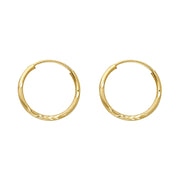 14K Gold 1.5mm Diamond Cut Satin Endless Hoops