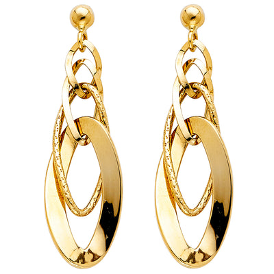 14K Gold Fancy Dangle Earrings