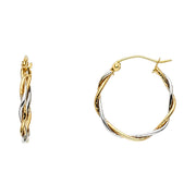14K Gold 1.5mm Twisted Hoops