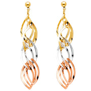 14K Gold Twisted Dangle Earrings