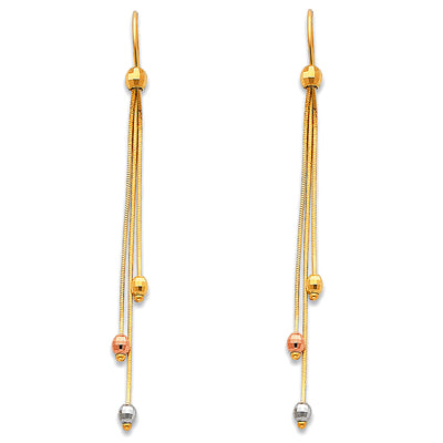 14K Gold Tassel Bead Dangle Earrings