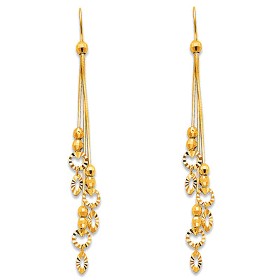 14K Gold Tassel Bead and Diamond cut circle Dangle Earrings