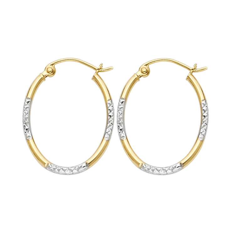 14K Gold 1.5mm Diamond Cut Tube Hoops