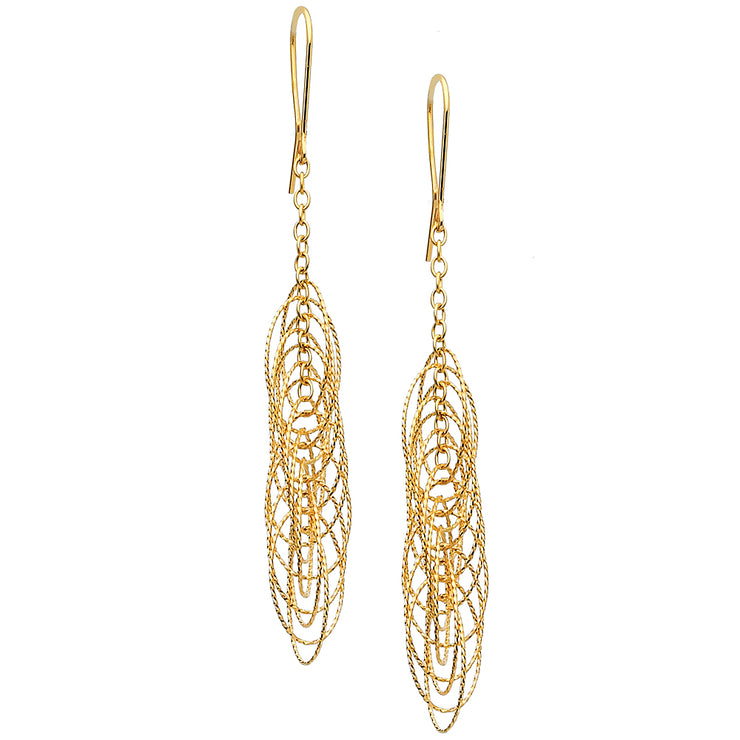 14K Gold Circle Twisted Hanging Earrings