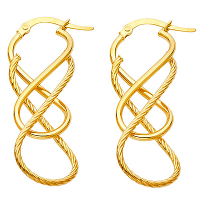 14K Gold 1.5mm Rope Twisted Earrings