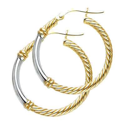 14K Gold 2.5mm Rope Hoops