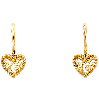 14K Gold Heart Motiff Earrings