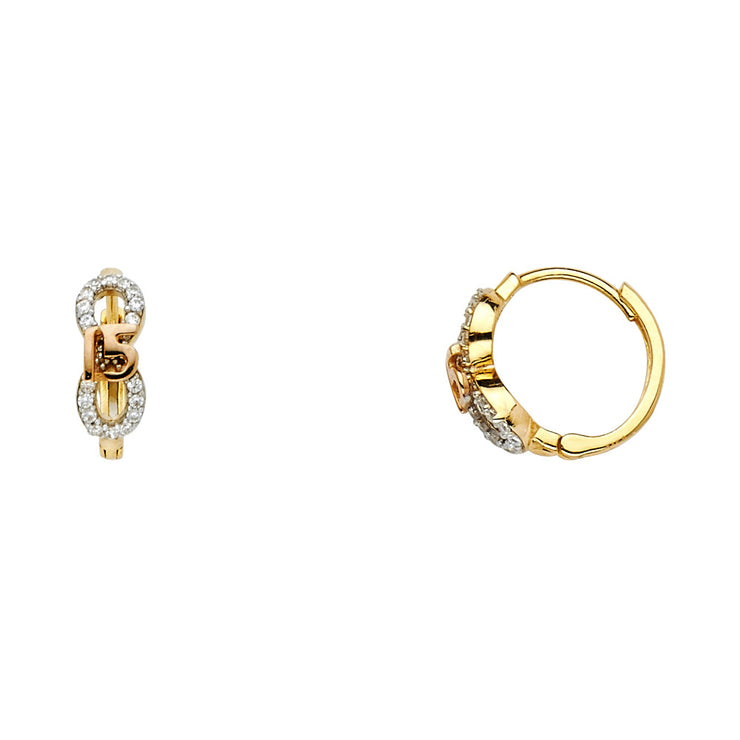 14K Gold 4mm CZ Stone 15 Anos Huggie Hoops