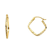 14K Gold 1.5mm Square Tube Diamond Cut Square Hoops