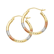 14K Gold 2mm Tube Diamond Cut Hoops