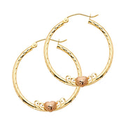 14K Gold 2mm Diamond Cut Hoops with Heart