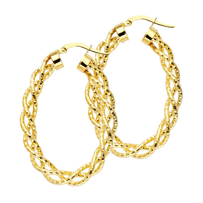 14K Gold 3mm Twisted Open Diamond-Cut Hoops