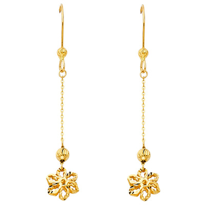 14K Gold Flower Hanging Earrings
