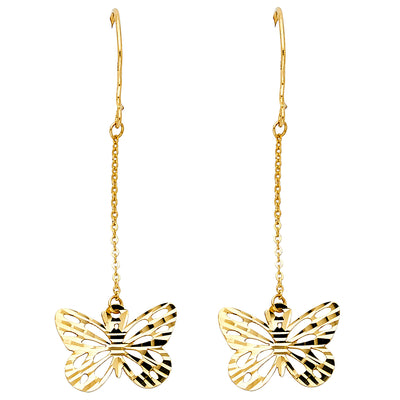 14K Gold Butterfly Hanging Earrings